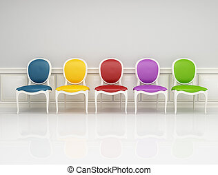 colored classic chair in white and gray interior