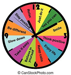 Colored clock with motivation and positive thinking messages