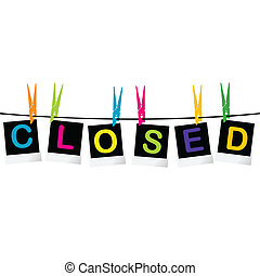 Colored closed sign