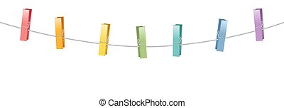Colored Clothes Pins Clothes Line Rope - Colored clothes...
