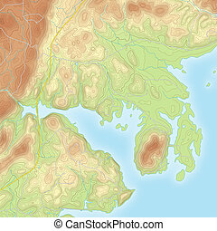 Colored Coastal Topographic Map - Realistic Topographic map...