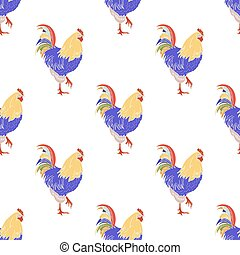 Colored cock icon isolated seamless pattern on white background. Vector