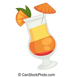 Colored cocktail of three layers with orange umbrella and ...