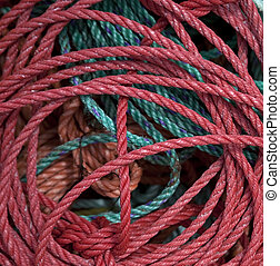 Colored coils of rope