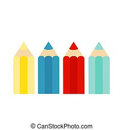 Colored Crayons, colorful pencil set on white background. Flat vector illustration.