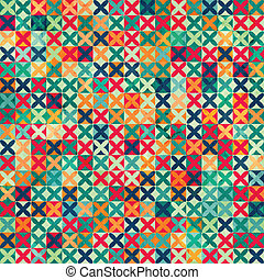 colored crosses seamless pattern with grunge effect