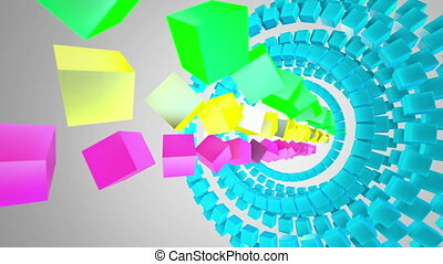 Colored Cubes at white background