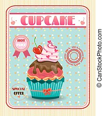 Colored cupcake with red cherry, bow, pink hearts, dotted background, text