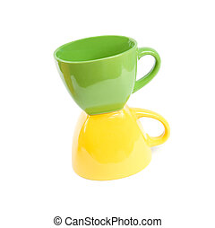 Colored cups. Isolated on white background.