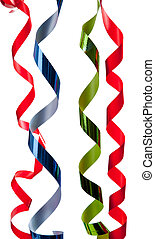 Colored curly ribbon in front of white - Colored curly ...