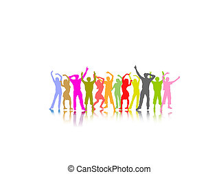 colored dancing people with shadows