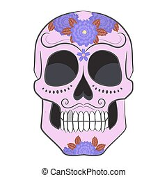 Colored Day of The Dead Sugar Skull with ornament.