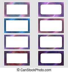 Colored digital art business card frame set