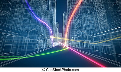 Colored Digital Streams Flying Through the Beautiful Modern Abstract City Grid Seamless. Digital and Technology Concept. Looped 3d Animation. 4k Ultra HD 3840x2160.