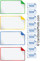 Discount Coupons - Colored Discount Coupons For Promotional...
