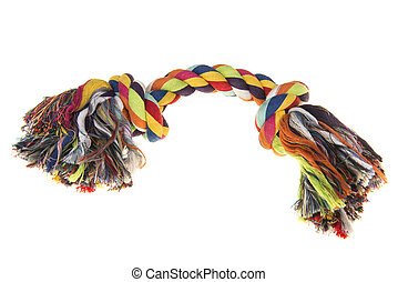 Colored dog rope toy on a white background