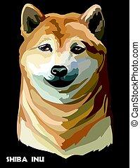 Colored dog Shiba Inu vector portrait