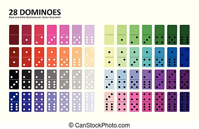 Colored domino full set in flat design style.