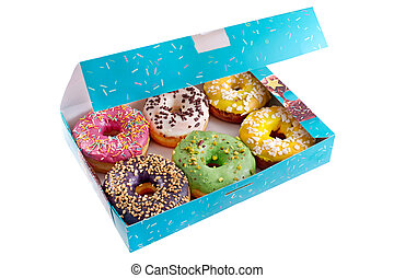 Colored donuts in the blue box