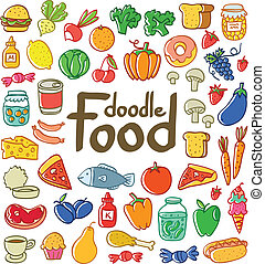 Colored doodle food set of 50 various products, fruits,...