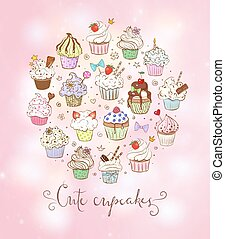 Colored doodle sketch cupcakes with decorations on pink background. Vector illustration.