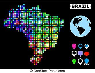 Colored Dot Brazil Map - Bright colored dotted halftone ...