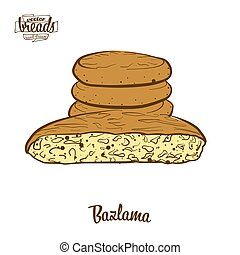 Colored drawing of Bazlama bread. Vector illustration of...