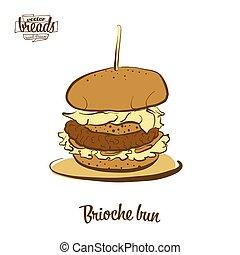 Colored drawing of Brioche bun bread. Vector illustration of...