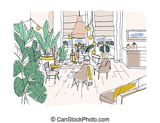 Colored drawing of cozy dining or living room furnished in...