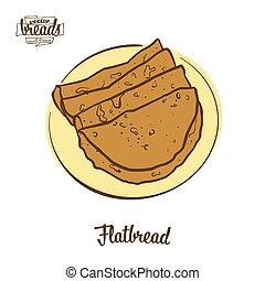 Colored drawing of Flatbread bread. Vector illustration of ...