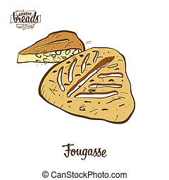 Colored drawing of Fougasse bread. Vector illustration of ...