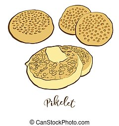 Colored drawing of Pikelet bread. Vector illustration of ...