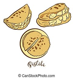 Colored drawing of Qistibi bread. Vector illustration of Flatbread food, usually known in Tatarstan, Bashkortostan. Colored Bread sketches.