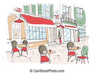 Colored drawing of summer sidewalk cafe, coffeehouse or...