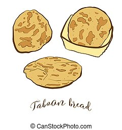 Colored drawing of Taboon bread bread. Vector illustration ...