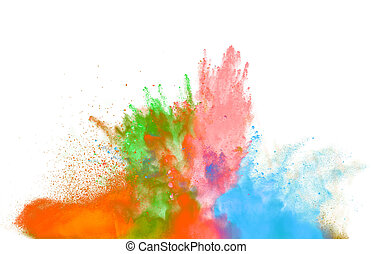 colored dust explosion on black background - Freeze motion ...