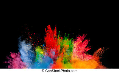 colored dust explosion on black background - Freeze motion...
