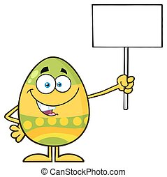 Colored Easter Egg Cartoon Mascot Character Holding A Blank Sign