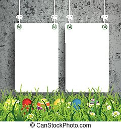 Colored Easter Eggs Grass 2 White Boards Concrete