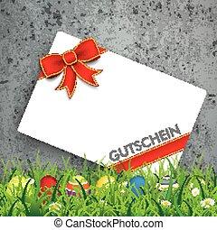 Colored Easter Eggs Grass Gutschein Concrete