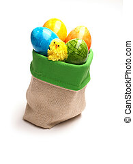 Colored Easter eggs in a bag