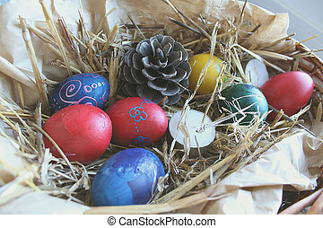 Colored Easter eggs in the basket