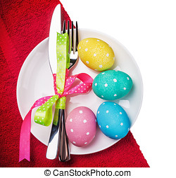 colored Easter eggs on a white background