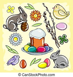 Colored Easter set with rabbit, chicken, Easter cake, flowers, pussy willow and eggs on a yellow vintage background