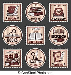 Colored Education And Bookstore Stamps Set