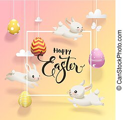 Colored eggs hanging on threads, cute little rabbits jumping around, square border and Happy Easter handwritten wish against yellow and pink background. Holiday vector illustration for greeting card