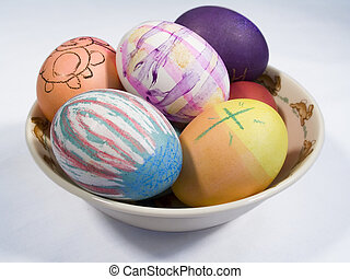 Colored Eggs - This is a shot of some hand colored eggs in a...