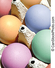 Colored eggs - Close-up of some fresh colored eggs