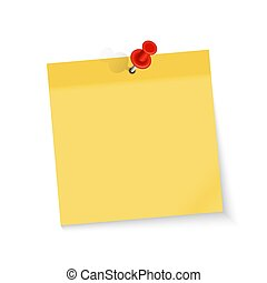Colored empty paper note sticker with red pin for office text or business messages. Vector Illustration