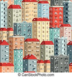 Colored European high-rise buildings - a seamless pattern....
